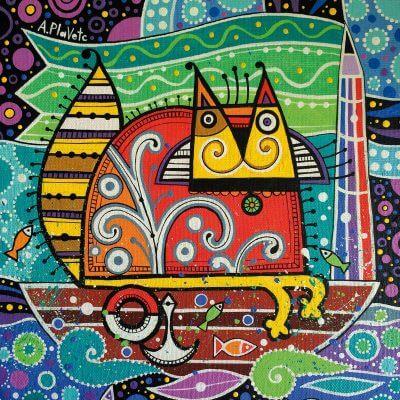 Кот мореход. Деревянный пазл. Подарок для детей. Развивающая игра