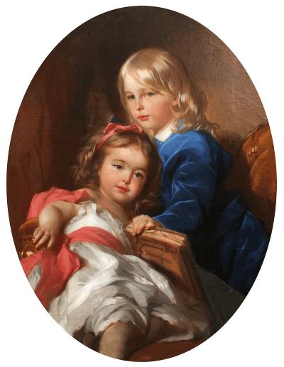портрет детей художника Кузи и Маруси