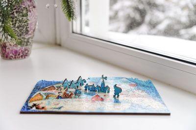 Зимушка. Деревянная мозаика в магазине Furor Decor