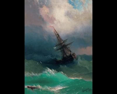 Корабль среди бурного моря Айвазовский мозаика из дерева davici (давичи пазл)