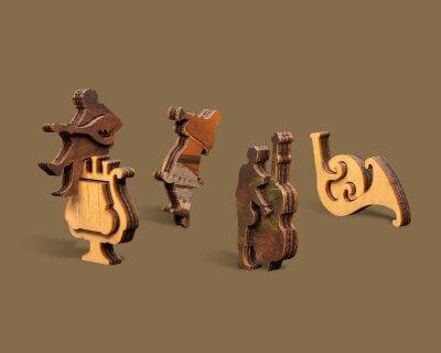 Лютнист деревянный пазл DaVICI