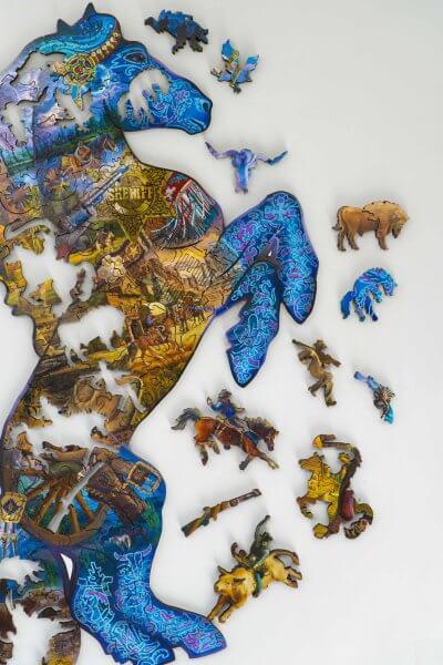 Мустанг, дикий запад. Мозаика из дерева давичи DaVICI